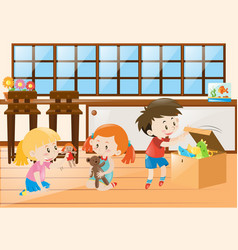 Three children playing with dolls in room vector