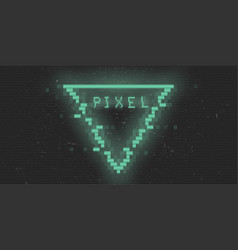 Triangle cyberpunk glitch pixel rhombus green vector