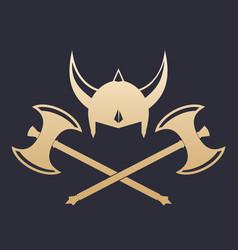 vikings helmet and crossed axes vector image