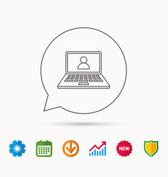 Webinar icon chat video sign vector