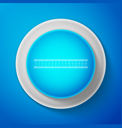 white ruler icon isolated on blue background vector image