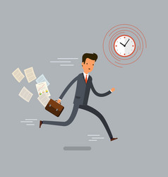 businessman running and hurry up vector image