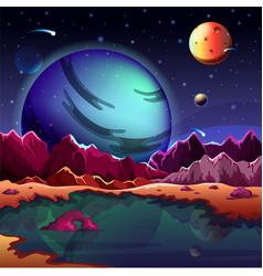 cartoon planet landscape or scenery terrain vector image