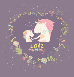 cute small unicorn with mom in wreath vector image vector image