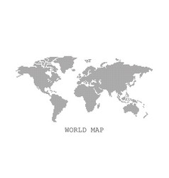Dotted blank black world map isolated on white vector