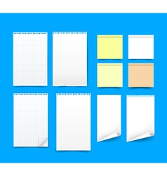 Set of blank paper on blue background eps 10 vector image vector image
