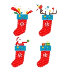set of Christmas socks vector image vector image