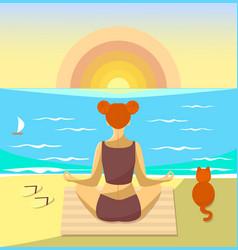 woman meditating on a beach vector image