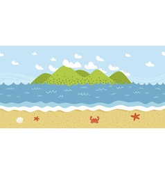 Beach coast landscape seamless pattern vector image vector image