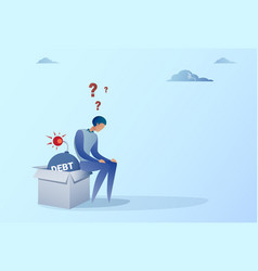business man sitting on bomb credit debt finance vector image vector image