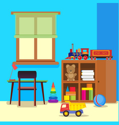 colorful and pretty child room with a desk and vector image
