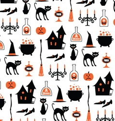 Halloween witch motifs on white vector