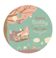 Happy birthday card with cute foxes vector image