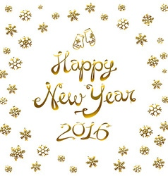 Happy New Year Card 2016 gold snowflake vector image vector image