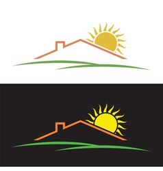 House sun hills silhouettes vector image vector image