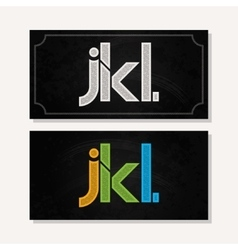 letter J K L logo alphabet chalk icon set vector image