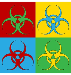 Pop art biohazard sign icons vector image