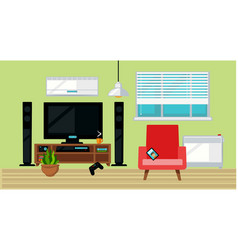 tv set and armchair in living room vector image