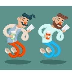 Wealthy Cartoon Hipster Geek Mobile Phone Coffie vector image vector image
