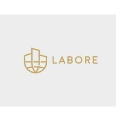 Abstract house globe logo design template line vector