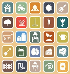 Farming flat icons on brown background vector image vector image