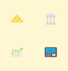 flat icons bar diagram ingot bank and other vector image vector image