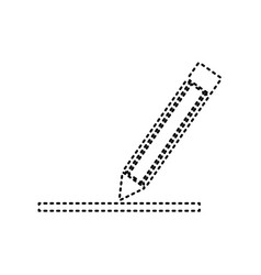 pencil sign black dashed vector image