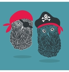 Set of two owl pirates vector image vector image