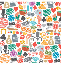 background pattern with casino or gambling icons vector image vector image