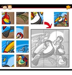 cartoon birds jigsaw puzzle game vector image