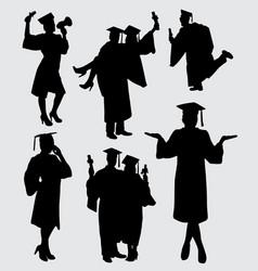graduation people silhouette vector image vector image