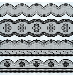 Set of black lace ribbons vector image vector image
