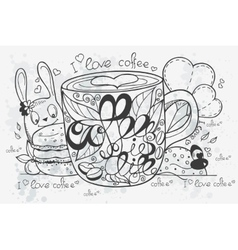 A hand-drawn coffee doodle vector