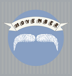 a hand drawn mustache and movember vector image