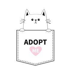 adopt me cute cat hands pocket pink heart cartoon vector image