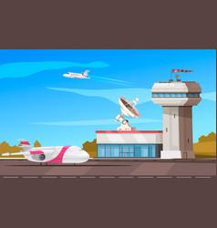 Airport outdoor cartoon composition vector