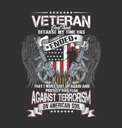American veteran wings and gun vector