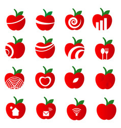 apple icon set on white background vector image