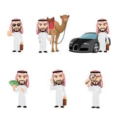 Arabian man character set rich arab man with car vector