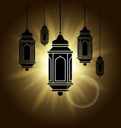 Arabic lantern black shadow silhouette with sun vector