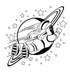 Astronaut and planet saturn vector
