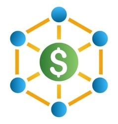Bank Network Nodes Gradient Icon vector