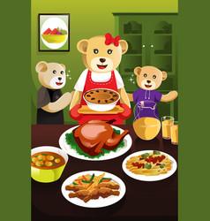 Bear family having dinner vector