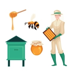 Beekeeper in protective suit bee honey jar and vector image