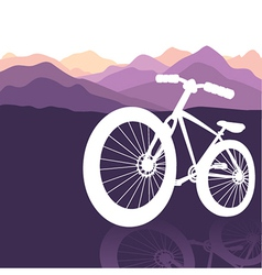 bike silhouette mountains background vector image