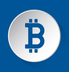 Bitcoin currency symbol blue icon on white button vector
