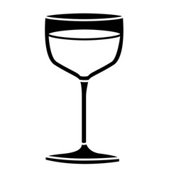 Black silhouette of glass cup in closeup vector