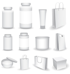 Blank Big Set of Plastic Packaging Bottles vector