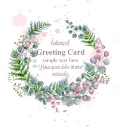 botanical frame decor watercolor card vector image