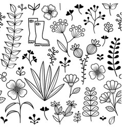 botanical seamless pattern hand drawn wild flower vector image